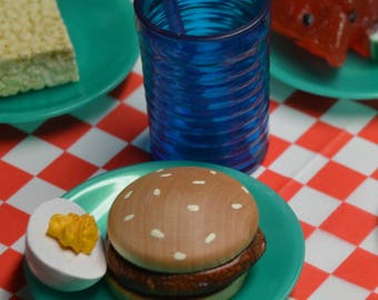 Fourth of July Burger and Deviled Egg 18 inch Doll Cook Out Play Food