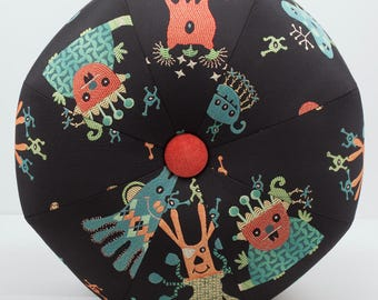Space Alien Pouf Ottoman- Pouf- Footstool- Octagonal Ottoman- Outer Space Creatures- by beckyzimmdesign