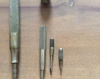 Vintage Edelmann Co  Chicago 4 in 1  Screwdriver Tool Set 4 Piece Brass  Knurled Handles Antique