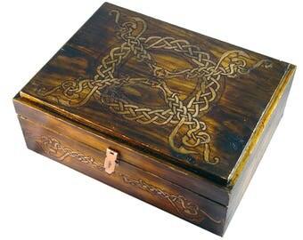 Celtic Dragon Handmade Wood Box Aged Rustic Finish Velvet Lining Large 5th Anniversary
