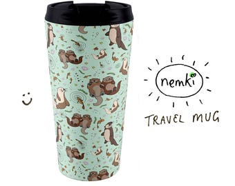 Sea Otter Travel Mug, Otter Flask, Sea Otter Gifts, Cute Otter Gifts, For Otter Lovers, Cute Otter Travel Mug, Otter Mug, Sea Otters, Otter