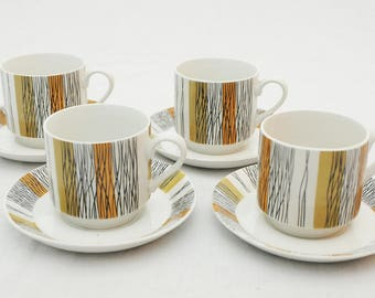 Set of Four Midwinter Sienna Coffee Cups and Saucers