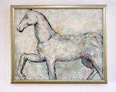 Original white horse with pomegranate bright colours oil on canvas painting wall decoration