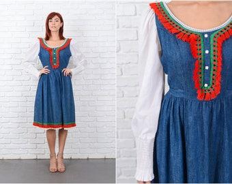 Vintage 70s Blue Chambray Dress Red Fringe Lace Color Block medium M 9617