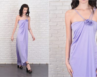 Vintage 70s 80s Purple Maxi Dress Boho hippie Strappy XS 11086