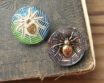 Vintage Czech Glass Black Widow Spider Button 22mm Round Gold with Green Blue or Black Mirror (1)