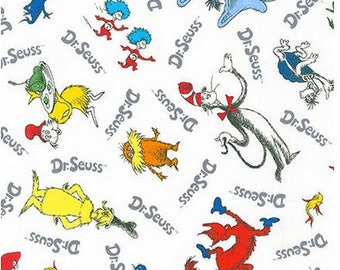 Dr. Seuss Tossed Characters on White From Robert Kaufman's Celebrate Seuss 4 Collection