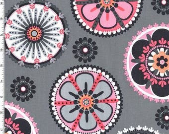 Flower Dots on Grey from Michael Miller Fabric's La Dee Da Collection - 100% Cotton