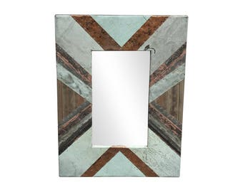 Diagonal Copper Cornice Patchwork 4.5 in. Mirror - Large Sizes