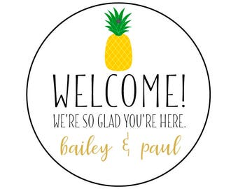 Wedding Welcome Bag Tags with Pineapple