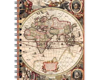 Vintage Notebook A6 - Old World Map