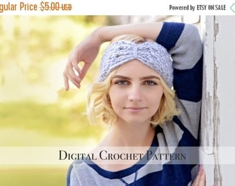 ON SALE Crochet Ear Warmers Pattern / Butterfly Band Pattern 036 / Crochet Pattern / Crochet Headband Pattern / Crochet Turban Pattern