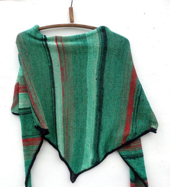 Knitting Pattern Cotton Scarf : Knit Triangle scarf knit cotton scarf knitted cotton shawl