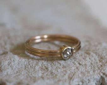 Cyllene Double Band Grey Diamond Ring  |  14k Yellow Gold