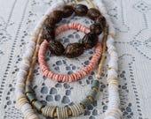 Vintage Puka Heishi Shell Nut Necklace Bracelet Lot