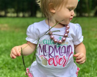 Cutest Mermaid ever - Summer Applique Design - Girl's shirt - Spring shirt - Mermaid shirt - Summer applique shirt- beach trip