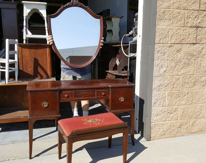 Vintage vanity set, mirror, bench included, farmhouse shabby chic, PICK UP ONLY, painting inc, antique, rustic make up table, dressing table