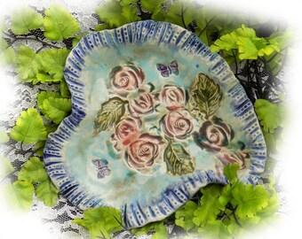 handmade Shabby Chic heart dish - heart dish - Stoneware dish, pottery dish - Ceramic Dish, handmade heart dish,   #33