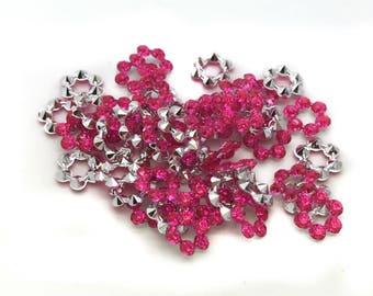 100 pcs Pink Floral Sew on Flatback Rhinestones