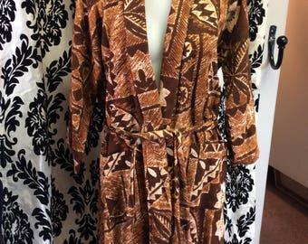 50's Hawaiian Barkcloth Robe MINT condition