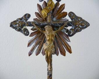 Antique Crucifix, Standing Metal Cross, Antique Altar Cross Crucifix, Catholic Gift, Religious, Jesus Figurine, Devotional