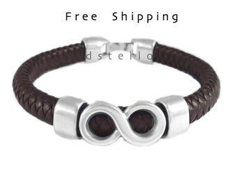 Infinity bracelet - Infinity mens leather bracelet - Gift idea for him - Infinite jewelry - Custom made braided bracelet - Handmade in Spain