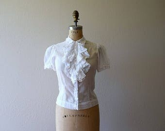 RESERVED . . . 1930s ruffled cotton blouse . vintage 30s swiss dot top