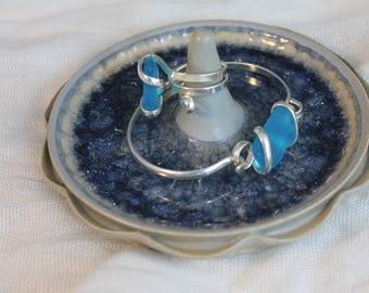 Ring Dish - light blue with glass - Jewelry dish - gift for a young lady
