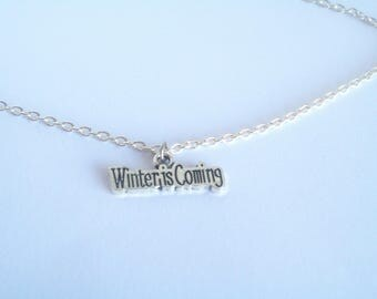 Winter is Coming Necklace, Game of Thrones, Medieval, Dire Wolf, Sword, Mother of Dragons, Battle Games, Stark, Gothic