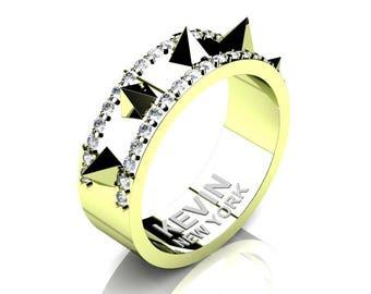 Mens New York 18K Green Gold Diamond Crown Spike Wedding Band RK101M-18KGGD