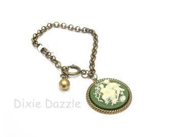 Green cameo charm bracelet, lover's cameo, resin cameo, charm bracelet, large clasp, easy open clasp, adjustable length bracelet