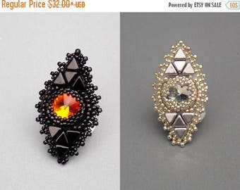 Summer sale -15% Bead Embroidery,  Ring,  Seed beads jewelry, Fashionable jewelry,  Trending ring, Swarovski,  Black,  Fire
