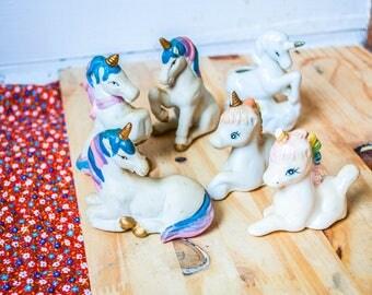 1970s 80s Set of Unicorns Vintage Retro Figurines Collection Ceramic Porcelain Taiwan Kitsch Home Decor Figures Knick Knacks