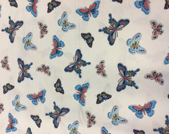 Michael Miller cotton fabric all a flutter in white By The Half Metre