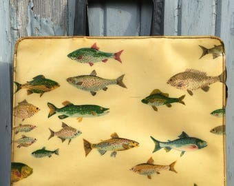 Vtg 50s 60s Novelty Fish Print Purse / Handbag / Vinyl Over Fabric