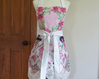 Handkerchief Apron in Pink and White, from Vintage Hankies, for Tea Parties or Gourmet Cook, Retirement, or Hostess Gift, One of a Kind