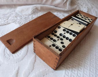 Antique French wooden dominoes set 1900s vintage wood domino game in a wooden dovetail box, antique French wood toy game ebony w bone domino