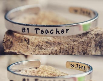 Number one teacher, Gift for Teacher, Teacher Bangle, Teacher Cuff, Teacher Bracelet, Teacher Jewelry, Best Teacher, Teacher gift from child