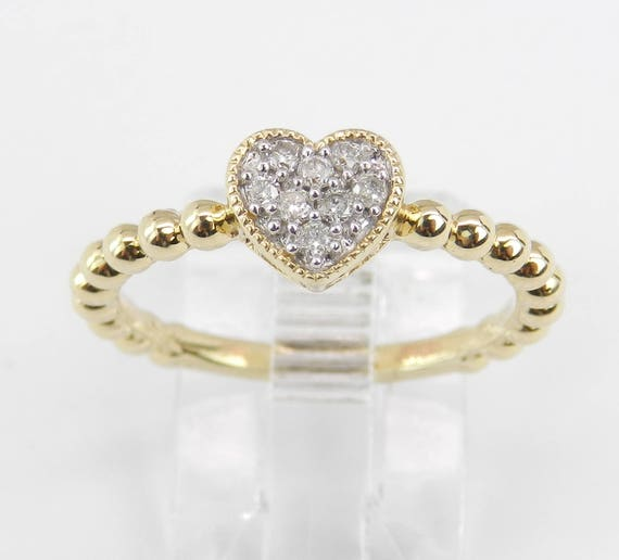Diamond Cluster Heart Ring Promise Engagement Ring Yellow Gold Size 7 Graduation Gift