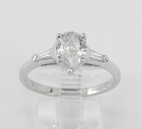 Platinum 1.13 ct Pear Diamond Engagement Ring Traditional Size 7.5