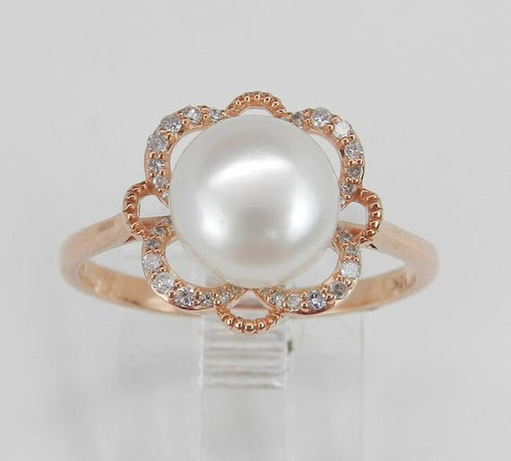 Diamond and Pearl Engagement Ring Promise Ring Rose Gold Size 7 June Gemstone