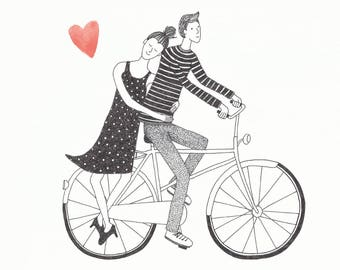 Greeting Card Love Couple On Bicycle
