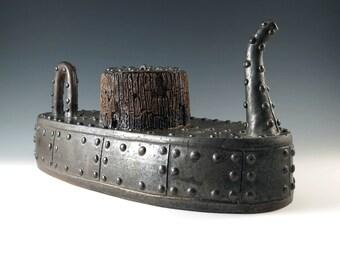 Industrial Art, Handmade Ceramic Teapot, Pottery Teapot, Collectors Teapot, Functional Ceramics, Wedding Gift, Steampunk Decor,  MS106