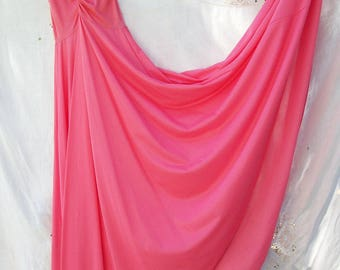 Nightgown ~ Full Sweep ~ Sleeveless ~ Vibrant PINK ~ Vintage Olga FULL Length ~ Size M