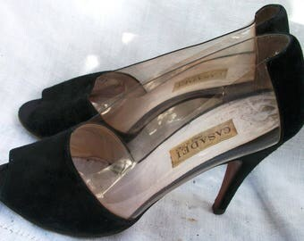 Peep Toe ~ Black and Clear ~ Heels ~ Casadei Vintage Shoes ~ Size 7 ~ Made in Italy ~ Open toe