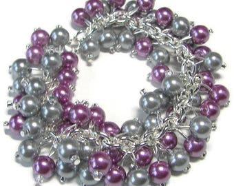 Violet and Gray Pearl Bracelet, Bridesmaid Bracelet, Pearl Cluster Bracelet, PLUM Cha Cha Bracelet, Chunky Pearl Bracelet. Gray Wedding