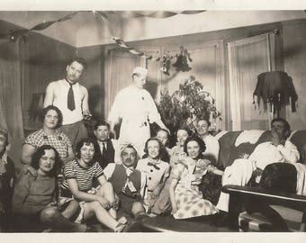 "Vintage Snapshot ""Party At Bill's"" Odd People Costumes Streamers Found Vernacular Photo"