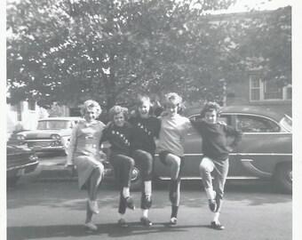 """Vintage Snapshot """"Denise & Dale"""" Teenage Girls Chorus Line Cheerleaders Mid-Century Found Vernacular Photo"""