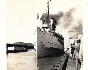 "Vintage Snapshot ""Bon Voyage"" Ocean Liner At Dock Back To Camera Man Wearing Straw Boater Hat Found Vernacular Photo"