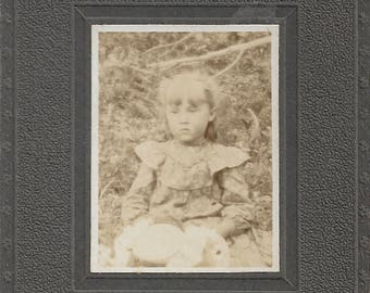 "Vintage Photo ""Solemn Little Girl"" Pretty Child Poses With Plush Toy Rabbit Found Vernacular Mounted Photo"